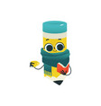 cute pencil cartoon character with scarf and cup vector image vector image