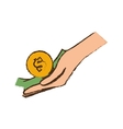 drawing hand holds bill coin money vector image