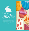 eggs painted and rabbit easter celebration vector image vector image