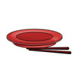 empty plate with chopsticks bamboo vector image