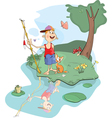 fisherman and cat cartoon vector image