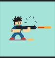 flat cartoon character with weapon vector image