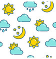 flat outline weather seamless pattern vector image vector image