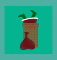 flat shading style icon santa claus in chimney vector image