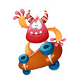 funny cute crazy monster on vector image