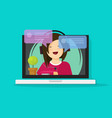girl in headset chatting or talking on internet on vector image vector image
