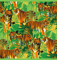 graphic seamless patterns tigers in different vector image