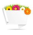 Grass Border With Frower And Origami Banner vector image vector image