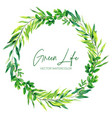 green watercolor leaves and branches wreath vector image