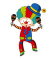 happy clown with maracas vector image vector image