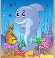 happy dolphin at sea bottom 3 vector image