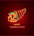 happy thanksgiving harvest neon label vector image vector image