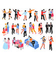 homosexual families isometric icons set vector image