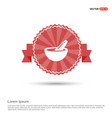 icon of bowl and chopsticks - red ribbon banner vector image