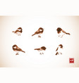 ink wash painting little birds in vintage style vector image