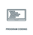 laptop coding line icon thin design style from vector image vector image