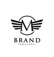 letters m with wings monogram logo creative vector image