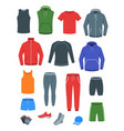men casual clothes for fitness training flat icons vector image vector image