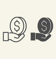 money in hand line and glyph icon dollar in palm vector image