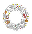 new year wreath consisting christmas festive vector image vector image