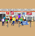 people buying electronic equipment in store vector image vector image