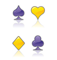 purple and yellow card suit icons vector image vector image