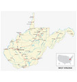 road map us american state west virginia vector image vector image