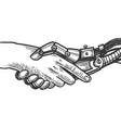 robot handshake engraving vector image vector image