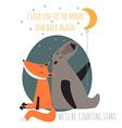 Romantic greeting card with bear and fox Card vector image