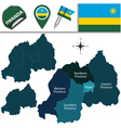 Rwanda map with named divisions vector image vector image