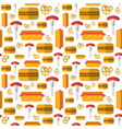 seamless pattern hot dogs pretzels german vector image vector image