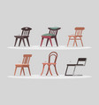 set of chairs for home and office interior vector image