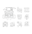 Smart house detailed flat line icons vector image vector image