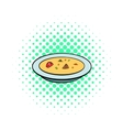 Soup plate icon comics style vector image