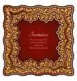 square gold frame with ornate border ornament vector image vector image