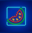 sweet red watermelon neon icon vector image vector image