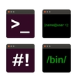 Terminal startup icon set direct access to system vector image vector image