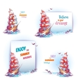 travel banner set with ship in ocean vector image vector image