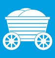 vintage wooden cart icon white vector image vector image