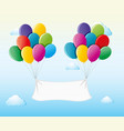 white banner attached to balloons in the sky vector image