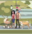 young family with toddler and baby walking in park vector image vector image