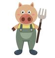 farmer pig vector image
