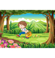 A forest with a young boy picking mushrooms vector image vector image
