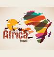 africa travel map decrative symbol africa vector image vector image