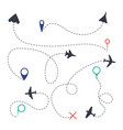 air path set aeroplane line traces with fly vector image vector image