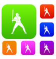 baseball player with bat set color collection vector image vector image