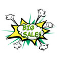 big sale colorful speech bubble and explosions in vector image