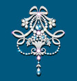 brooch with pearls and precious stones filigree vector image vector image
