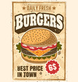 burger colored advertising vintage poster vector image vector image