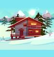 cartoon luxury hotel chalet winter resort vector image